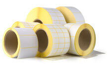 Plain self adhesive labels on a roll