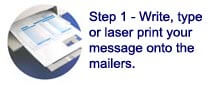 write type or laser print onto mailer